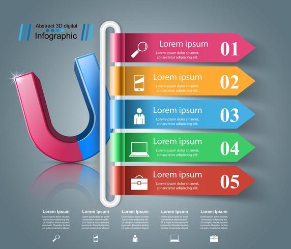Icona realistica del magnete. Infografica di affari. vettore