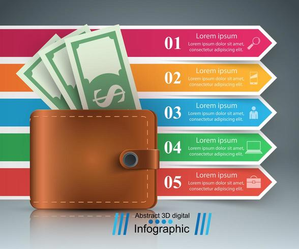 Business Infographics. Dollar, Wallet icon. vector