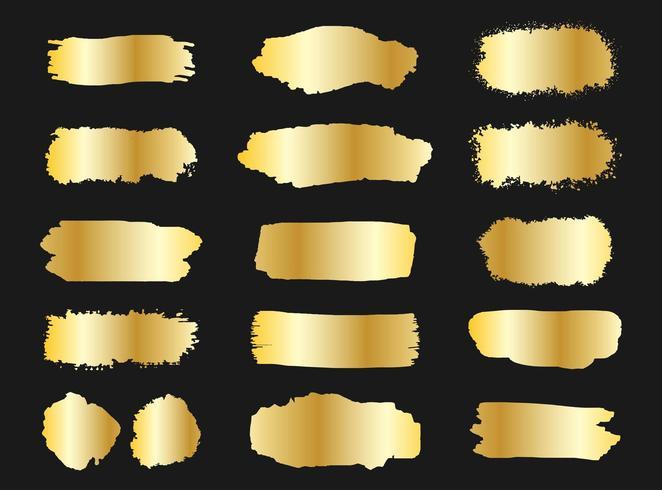 Sammlung goldene Schmutzbürste streicht Fahnen vektor