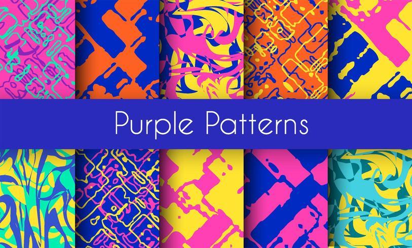 Set van marmeren paarse patronen vector