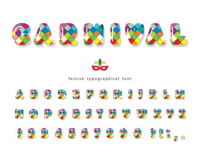 Karneval 3d glänzend Schriftart. vektor