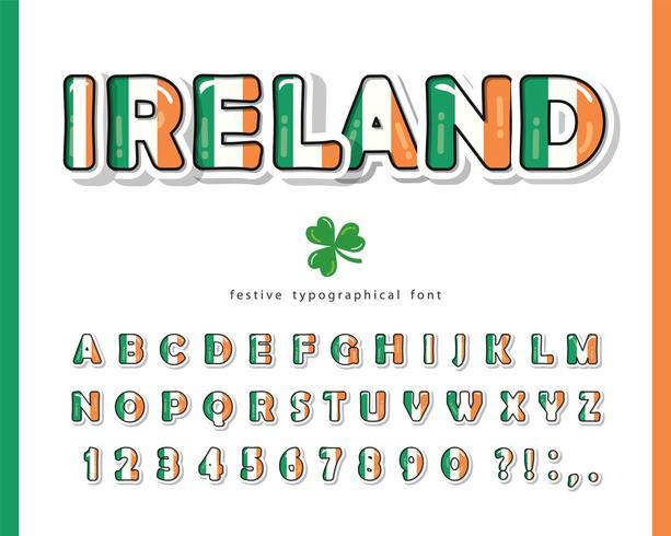 Irland Cartoon Schriftart. Farben der irischen Nationalflagge. vektor