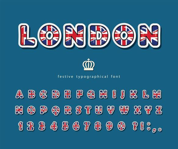 British font with national flag colors.  vector