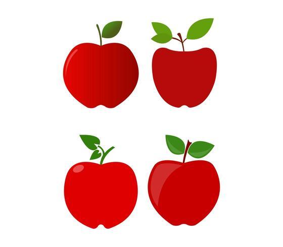 Satz Apfelikonen auf einem weißen Hintergrund vektor