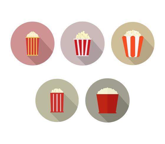 Set van pop corn pictogrammen op een witte achtergrond vector