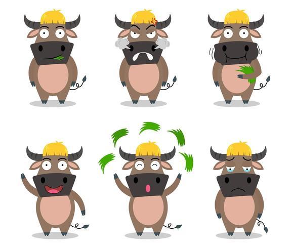 Niedliche Büffelkarikatur eingestellt in unterschiedliches Gefühl vektor