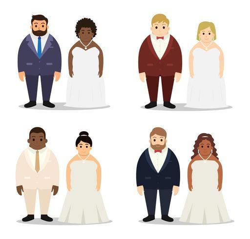 Verzameling van bruiloft mollig paar tekenset vector