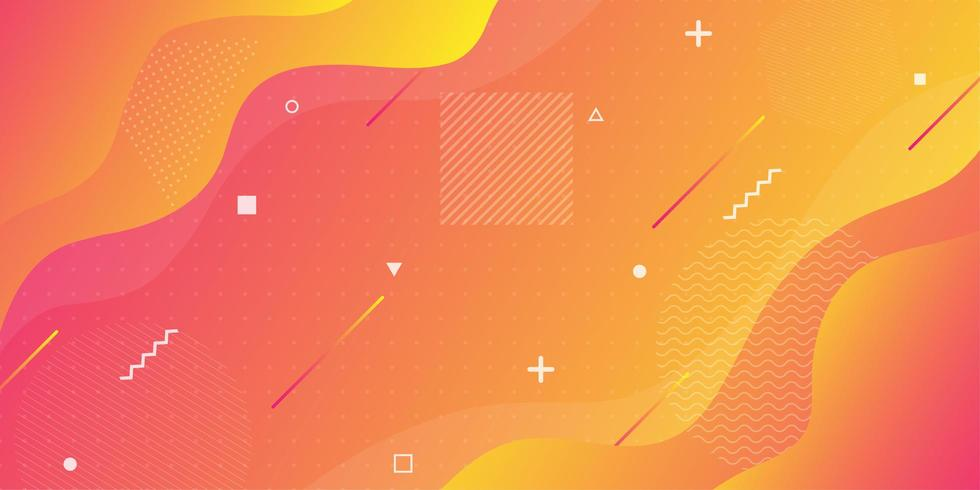 Orange and yellow gradient wavy overlapping shapes  vector