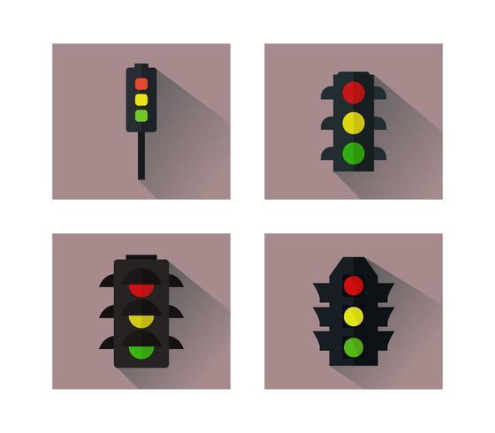 Set van verkeerslichten pictogrammen op witte achtergrond vector