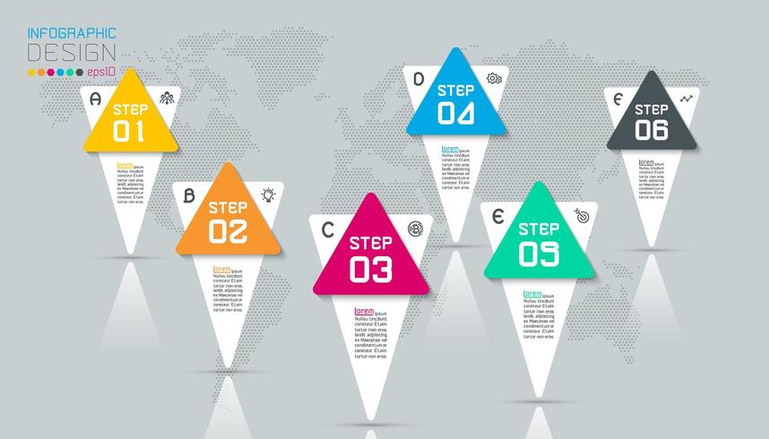 Business infographic with 6 steps. vector