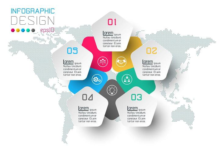Opciones de paso de negocio y plantilla de opciones de número de infografía abstracta.