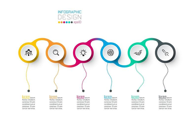 Circle label infographic vector art.