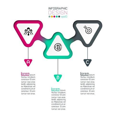 Dreiecke beschriften Infografik mit Schritt für Schritt. vektor