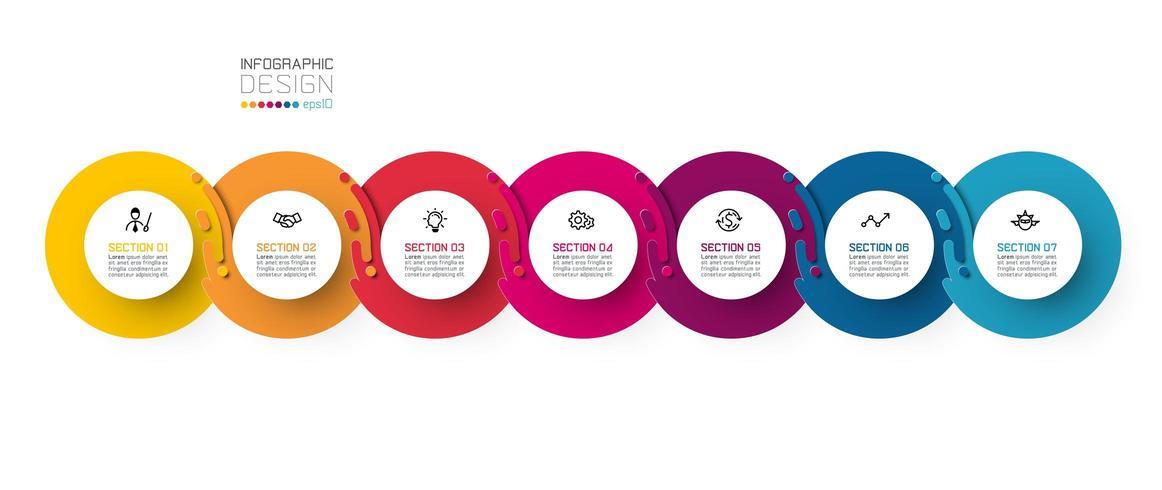 Zeven harmonieuze cirkel infographics. vector