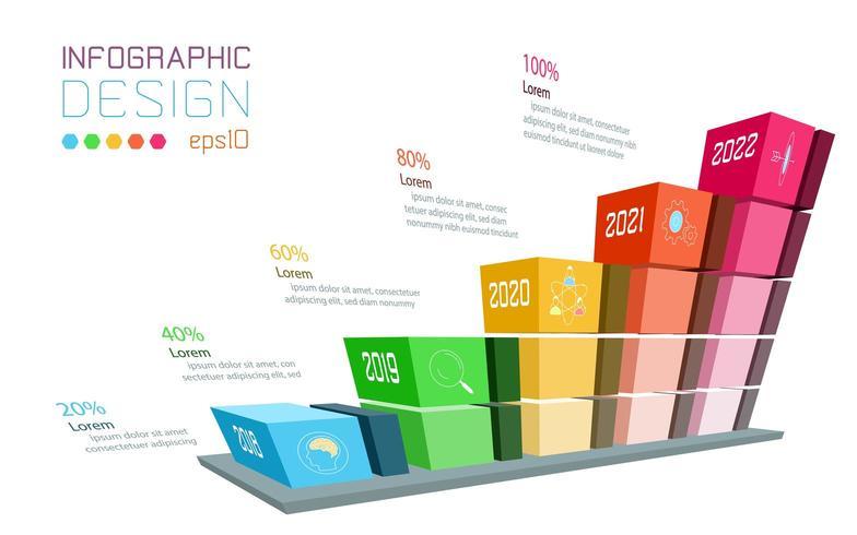 Zakelijke infographic op driedimensionale grafiekbalk vector