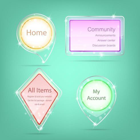 Transparant label, webelement met ontwerp van glas en acryl vector