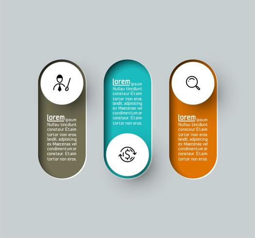 Vektor Infographic langer Aufkleber des Kreises 3d, infographic mit Wahlprozessen der Nr. 3.