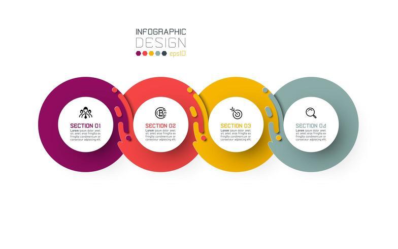Four harmonious circle infographics. vector