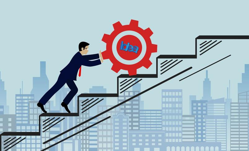 Geschäftsmänner drücken Gangrot herauf Satz Schritte vektor