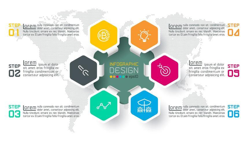 Business hexagon labels shape infographic circles bar. vector