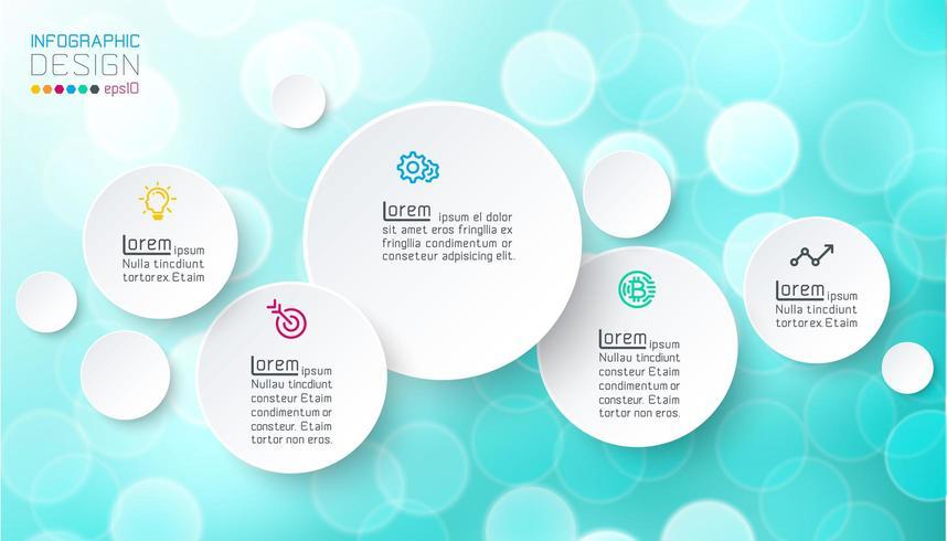 Cirkels infographics met bubbels zeep op roze achtergrond. vector