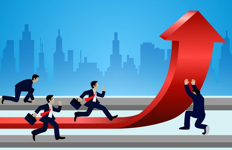 Businessmen racing and change directions arrows red to goal vector