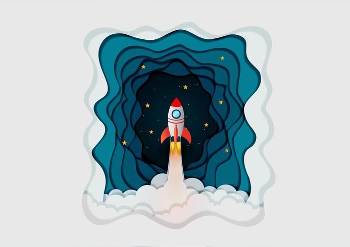 space shuttle lancering naar de hemel, start-up bedrijfsconcept vector