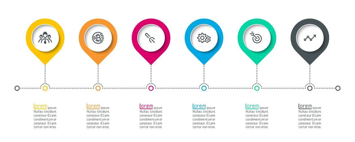 Cirkel label infographic met 6 stappen. vector