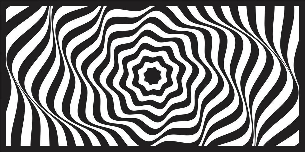 Black and white wave geometric optical art background