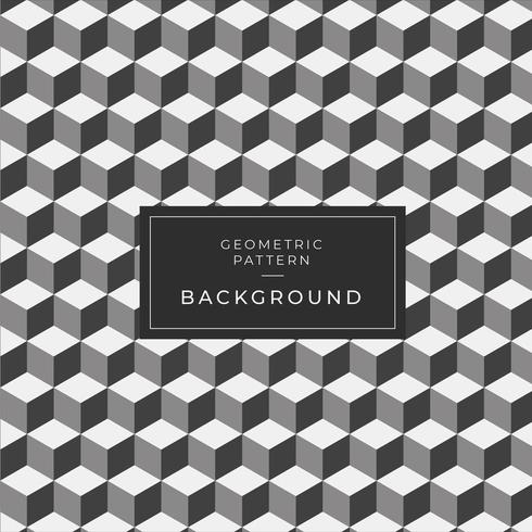 Modern 3d geometric black and white block pattern