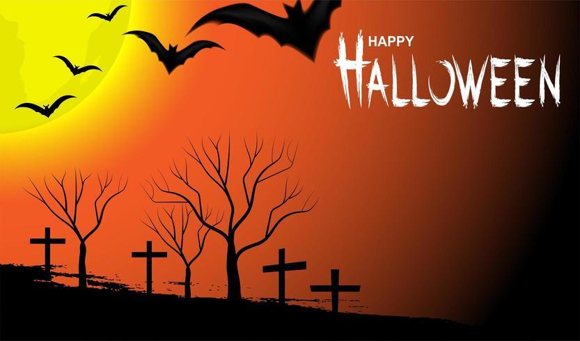 Diseño de Halloween con luna y murciélagos en cielo naranja vector
