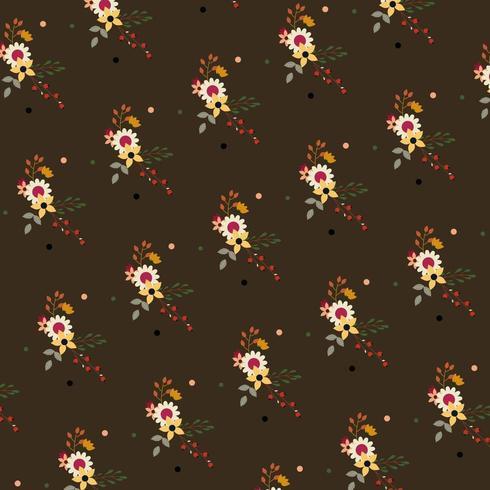 bruin bloemmotief met stippen vector