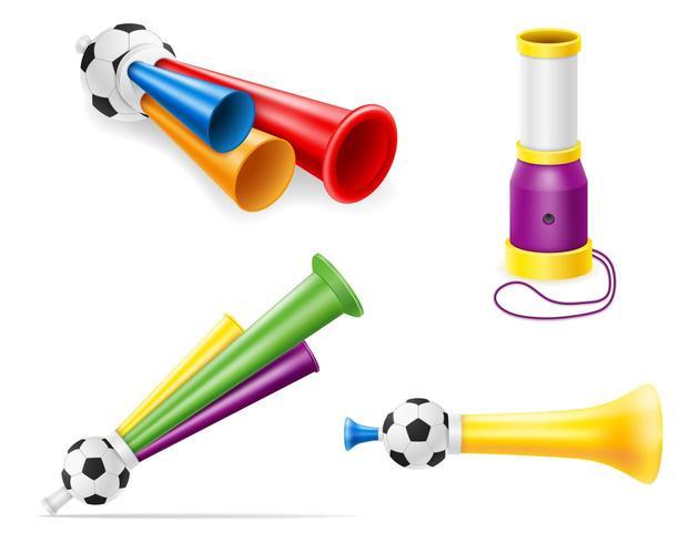 horn attribut fotboll fotboll och sport fans vektorillustration vektor