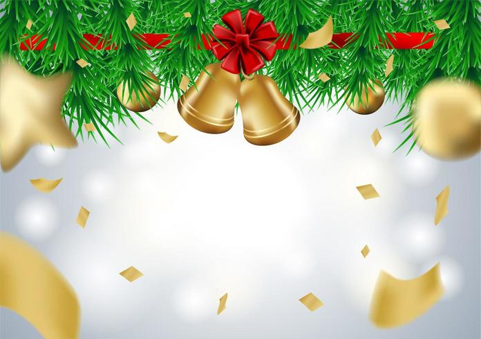 Christmas design with christmas tree branches, bells and gift balls on bokeh background