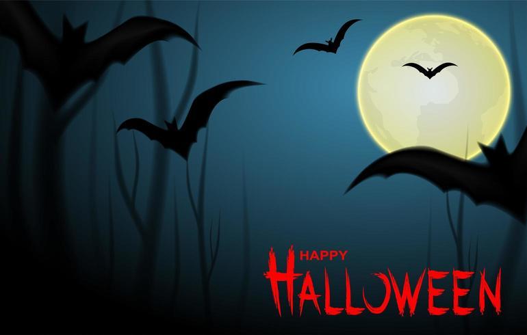 Gelukkig Halloween-ontwerp met knuppels en maan op nachtachtergrond vector