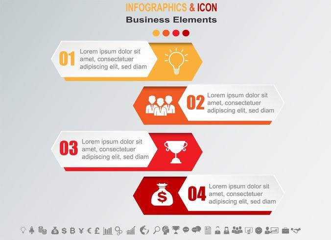 Cronograma de negócios infográfico com 4 banners