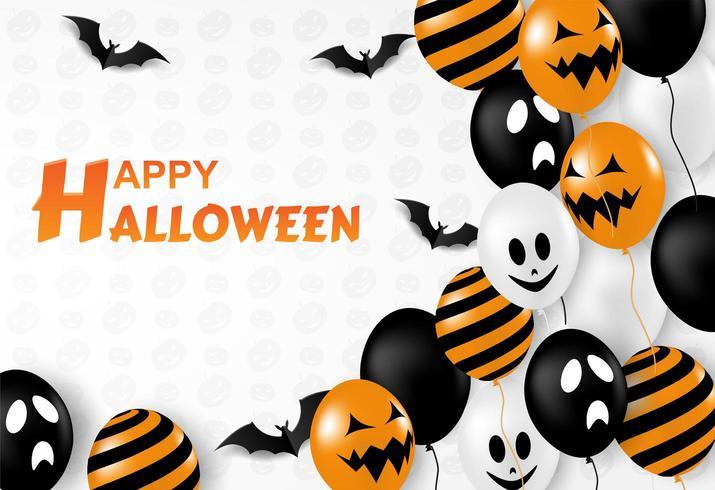 Gelukkig Halloween-ontwerp met ballons en knuppels op wit vector