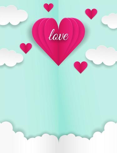 Feliz diseño de San Valentín con texto de amor y corazones volando en las nubes