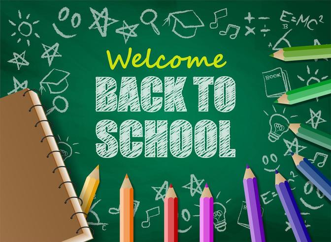 Back to school design with colorful pencils and notebook on chalkboard vector
