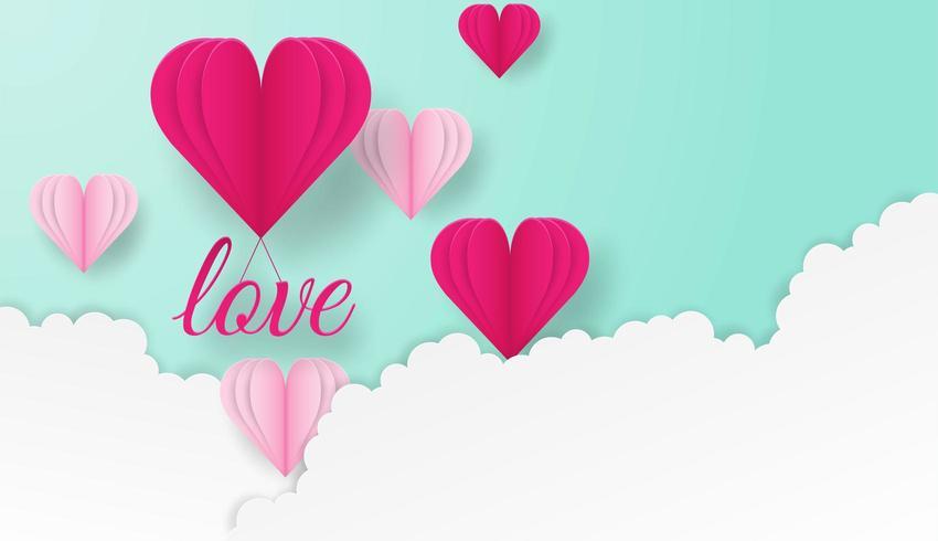 Het gelukkige Valentijnskaarten ontwerpen met liefdetekst en harten die in wolken vliegen vector
