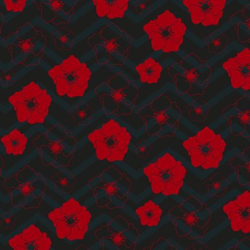 rood bloemenpatroon met chevronontwerp vector
