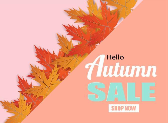 Herfst verkoop ontwerp met herfstbladeren op roze vector