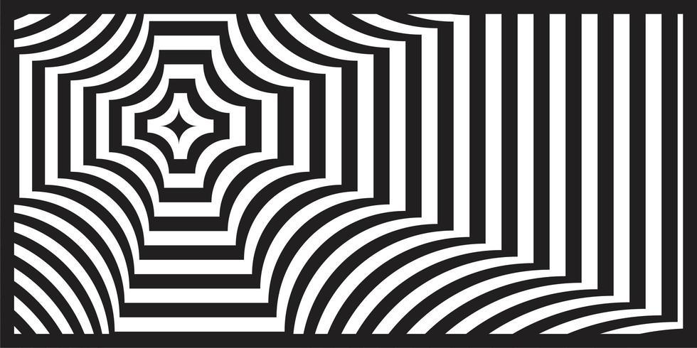 Zwart en wit op-art geometrisch perspectiefpatroon vector