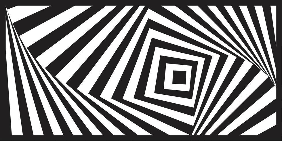 Black and white geometric optical art striped pattern vector