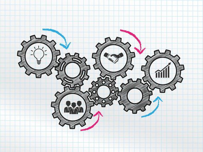 Conception de mécanismes marketing avec engrenages connectés et icônes
