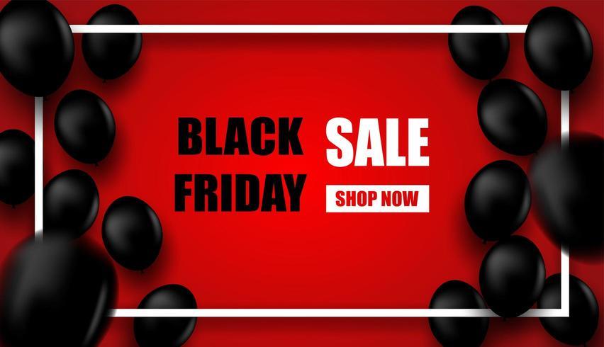 Black Friday-verkoopontwerp met wit kader en zwarte ballons op rood vector