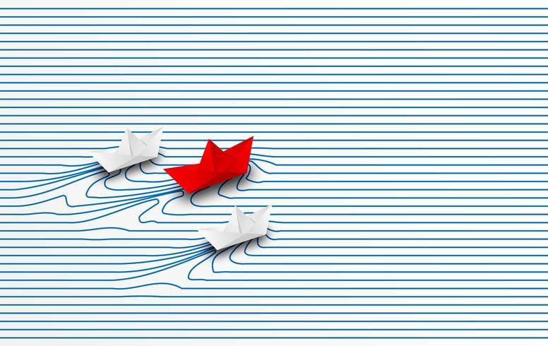 Red paper boat leading white paper boats through water to goal vector