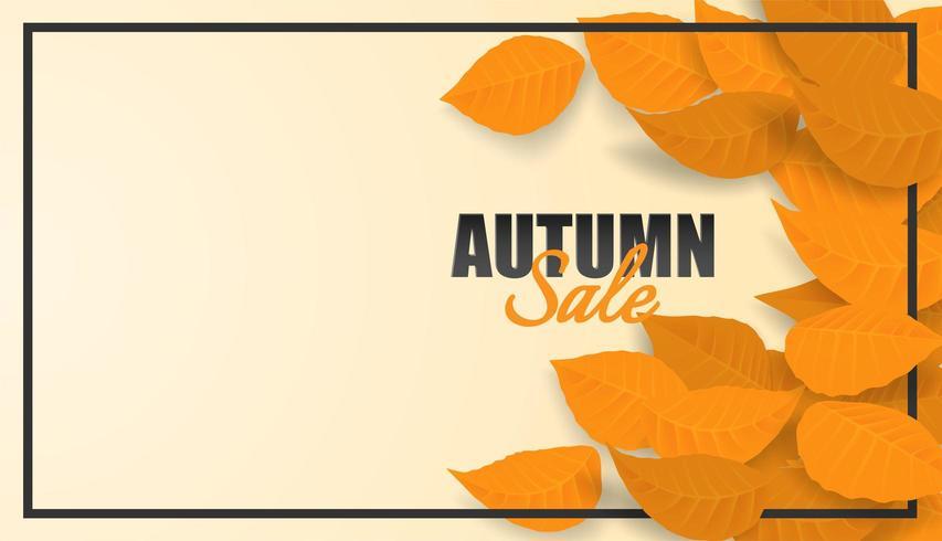 Herfst verkoop ontwerp met herfstbladeren en zwart frame vector