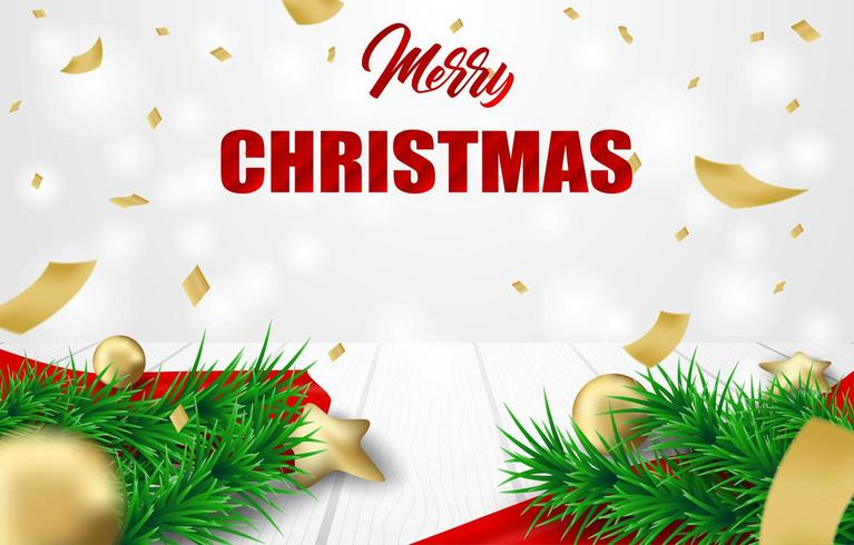 Christmas Design with christmas tree branches, confetti and ornaments on white wood vector