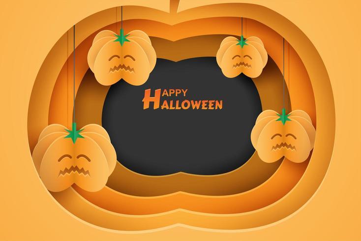 Halloween-Entwurf mit Kürbisausschnitt und hängenden Papierkunstkürbisen